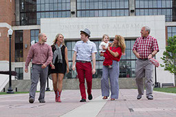 Family portrait photography on The University of Alabama campus at Bryant Denny Stadium Walk of Fame.