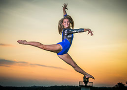 Tuscaloosa's best photographer took this picture of a high schoold senior in her gymnastics leotard leaping into the sunset.