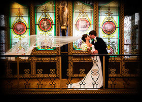 Tuscaloosa wedding photography at Northriver Yatch Club in front of stained glass windows